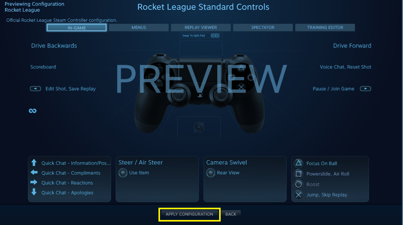 Steam Controller Configuration (Beta) – Psyonix Support