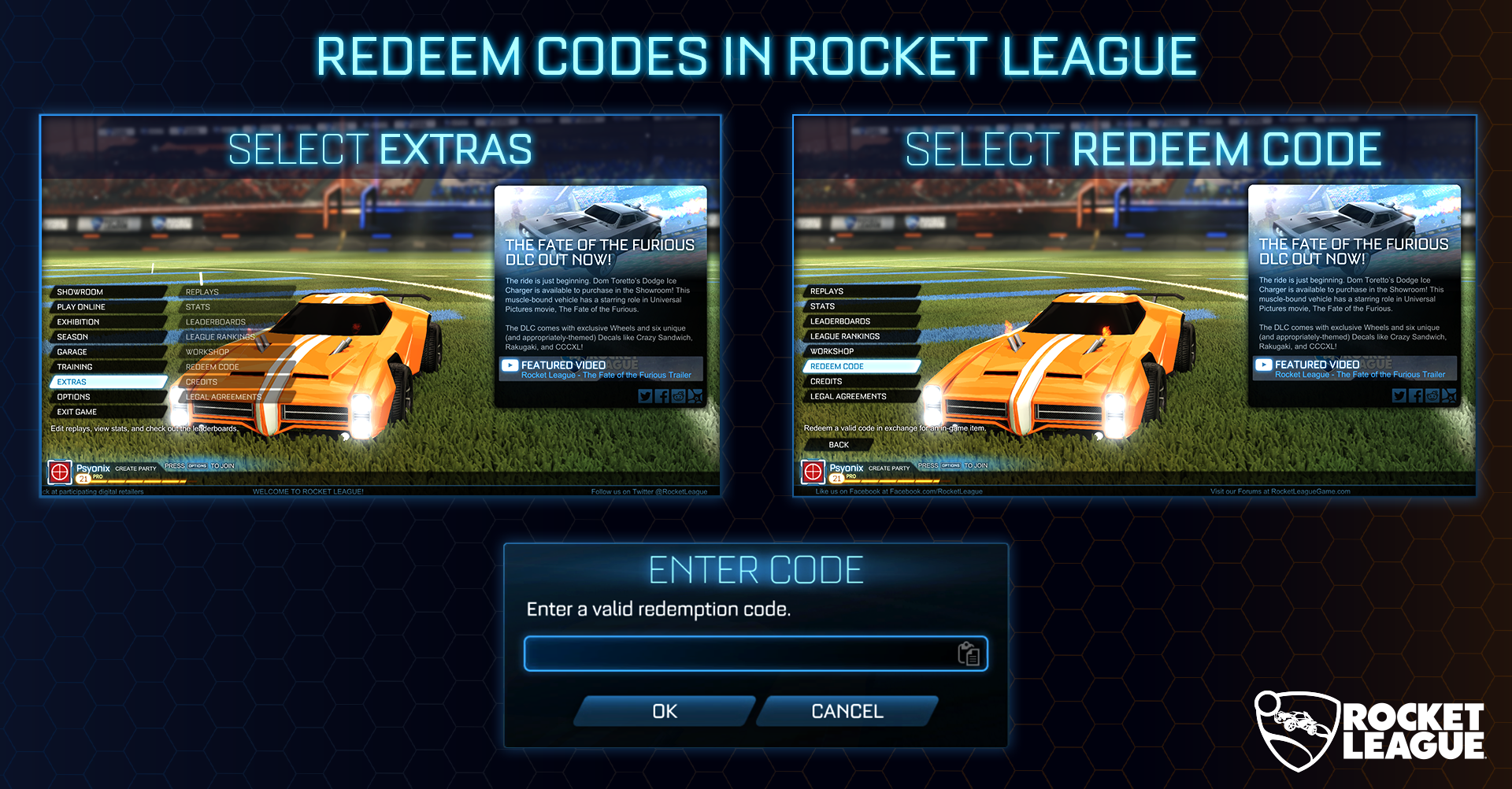 In-Game Code Redemption – Psyonix Support